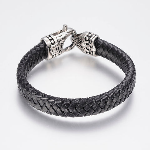 Antiqued Polished Clasp & Black Leather Bracelet - Bracelets - Rebelroad.co.za