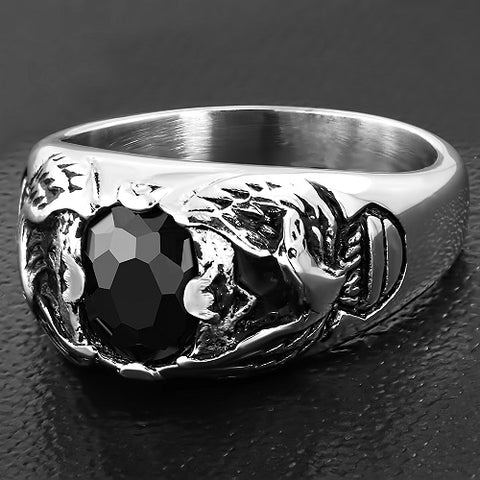 Bald Eagle Shank Oval Biker Ring With Black CZ - Rings - Rebelroad.co.za