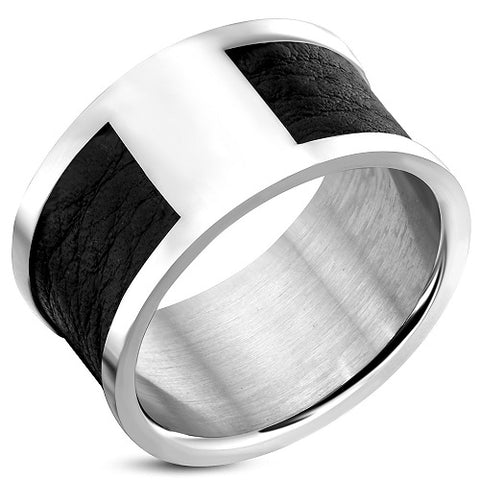 Band Ring With Black Leather - Rings - Rebelroad.co.za