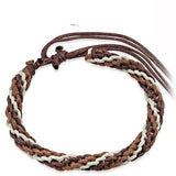 Beige and Brown Crochet Friendship Bracelet - Bracelets - Rebelroad.co.za