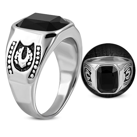 Bezel-Set Square Biker Ring With Black Glass Stone - Rings - Rebelroad.co.za