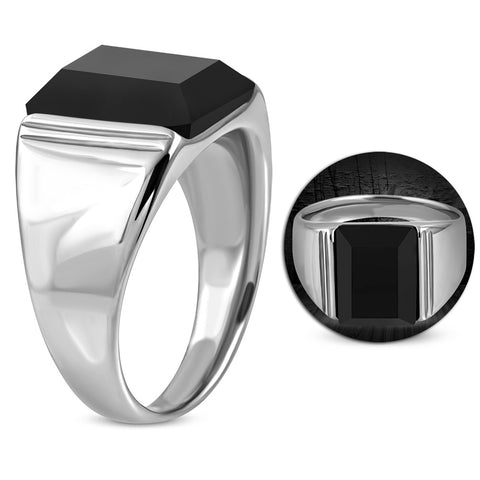 Bezel-Set Square Ring With Black Glass Stone - Rings - Rebelroad.co.za