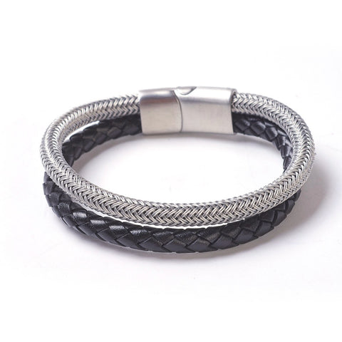 Black Braided Leather & Steel Mesh Bracelet