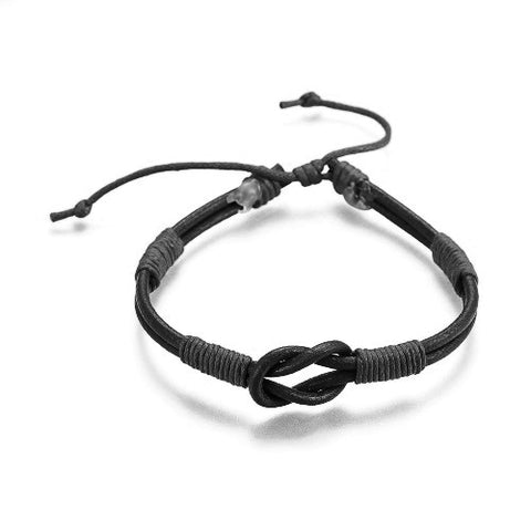 Black Leather Cord Infinity Bracelet