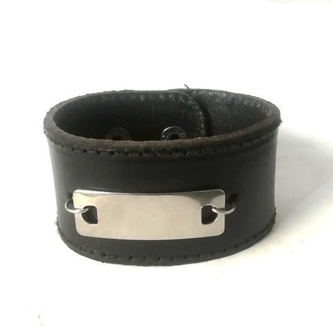 Black Leather & ID Engravable plate Bracelet