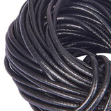 Black Round Plain Cowhide Leather Cord -3mm from rebelroad.co.za from our Cord & string Jewellery supplies collection