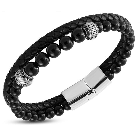 Black Braided Leather & Agate Beads Bracelet