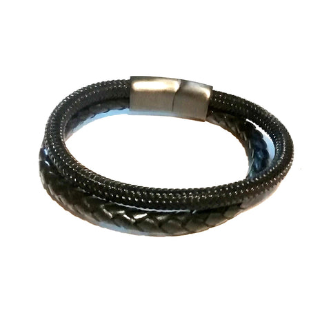Black Braided Leather & Black Steel Mesh Bracelet - Bracelets - Rebelroad.co.za