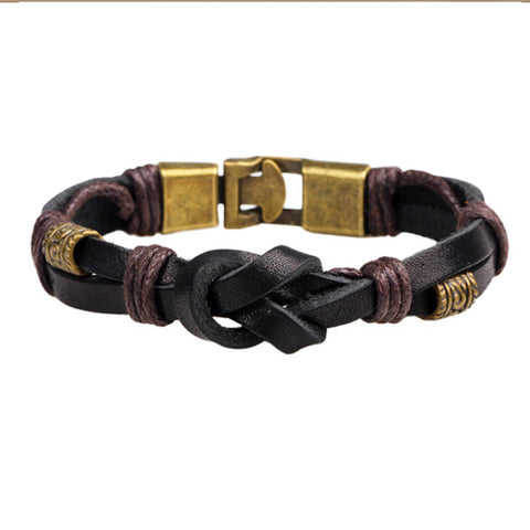 Black & Bronze Knotted Leather Bracelet - Bracelets - Rebelroad.co.za