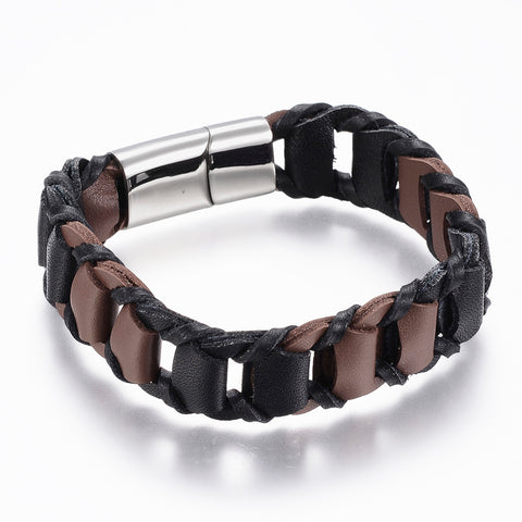Black & Brown PU Leather Link Bracelet - Bracelets - Rebelroad.co.za