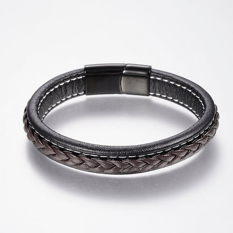 Black & Brown Retro Leather Bracelet - Bracelets - Rebel Road