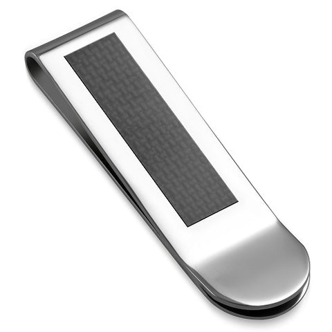 Black Carbon Fiber and Stainless Steel 2-Tone Money Clip - Money Clips - Rebelroad.co.za