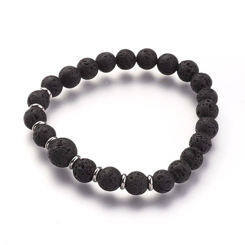 Black Lava Bead Bracelet - Bracelets - Rebel Road