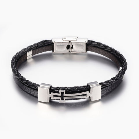 Black Leather Cross Bracelet - Bracelets - Rebelroad.co.za