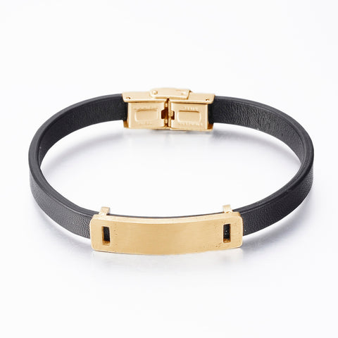 Black Leather & Gold-tone ID Bracelet - Bracelets - Rebelroad.co.za