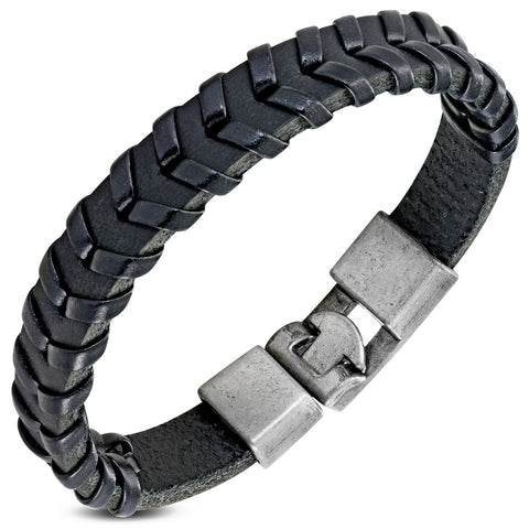 Black PU Leather Weave Bracelet - Bracelets - Rebelroad.co.za