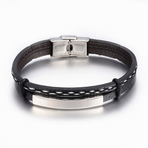 Black PU Leather with ID engravers Plate Bracelet - Bracelets - Rebelroad.co.za
