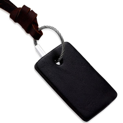 Black Rectangular Leather Tag Necklace - Neckwear - Rebelroad.co.za
