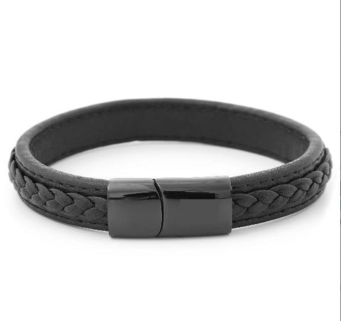 Black Retro Leather Bracelet - Bracelets - Rebel Road