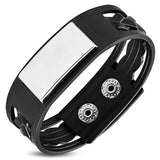 Black Rubber Engravable ID Plate Bracelet - Bracelets - Rebelroad.co.za