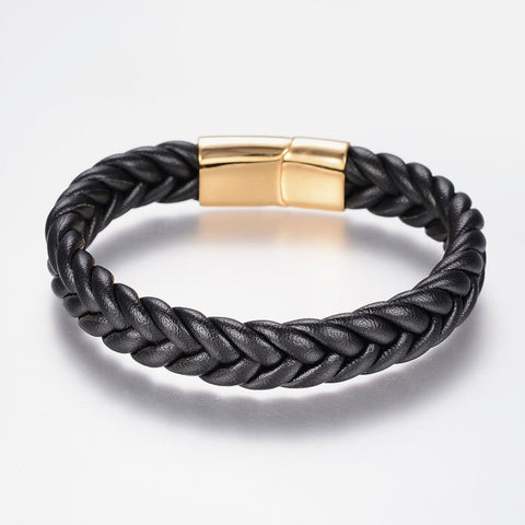 Black Thick Braided Leather Cord Bracelet - Bracelets - Rebel Road