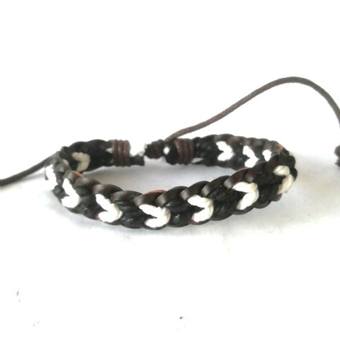 White & Black Leather Cotton Cord Bracelet