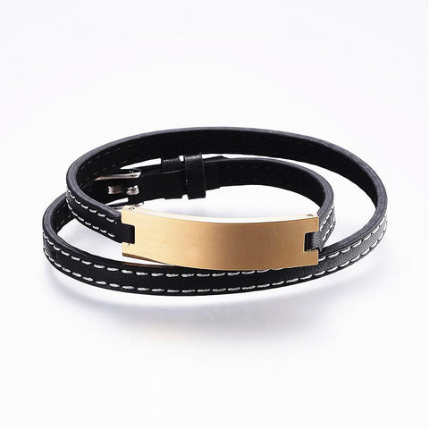 Black Wrap Leather Gold-tone ID Bracelet - Bracelets - Rebelroad.co.za