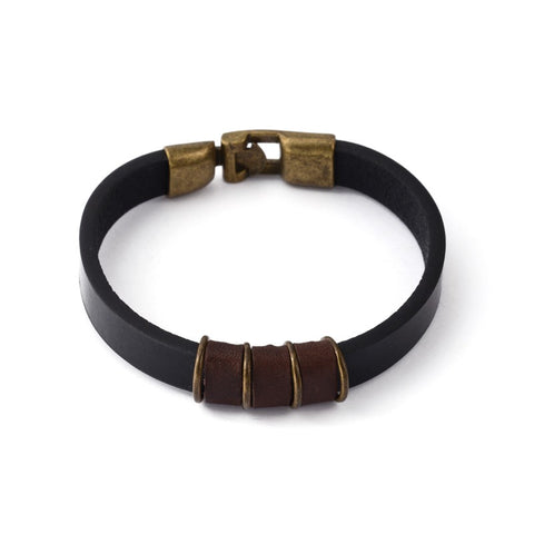 Black and Brown Leather Cord Bracelet - Bracelets - Rebelroad.co.za