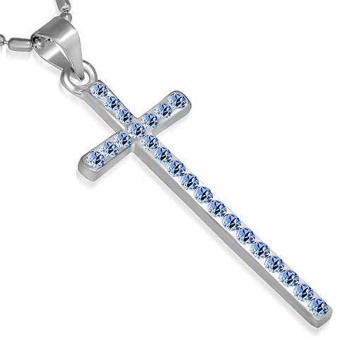 Blue Sapphire Crystal Cross Pendant Chain Necklace - Neckwear - Rebelroad.co.za