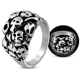 Bold Cluster Ghost Skull Biker Ring - Rings - Rebelroad.co.za