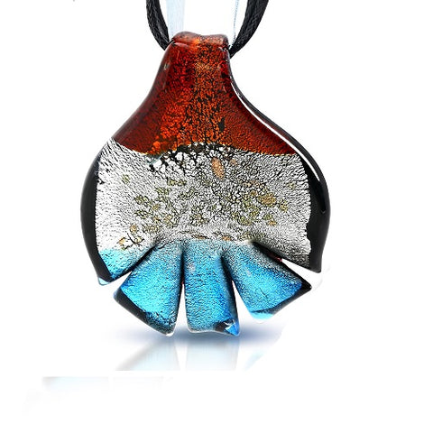 Boro Glass Autumn Leaf Pendant Cord Necklace - Neckwear - Rebelroad.co.za