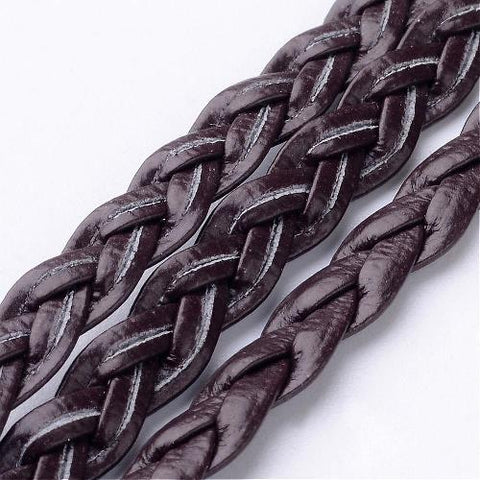Braided Brown Flat Herringbone Imitation Leather Cord - 5mm * 2mm