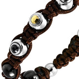 Braided Brown Cord with Stainless Steel 3-Tone Metal Bead Bracelet - Bracelets - Rebelroad.co.za