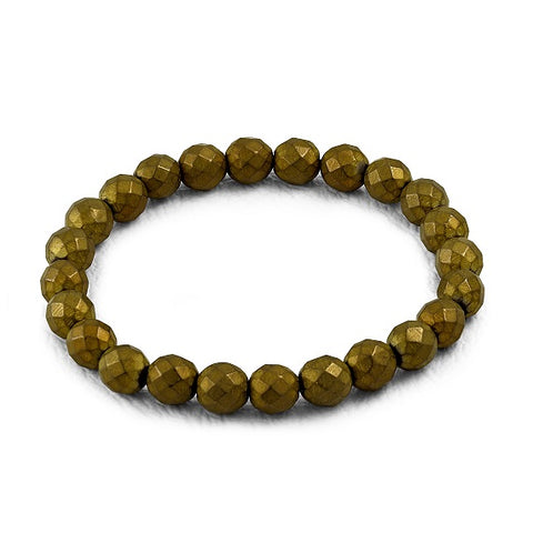 Bronze Faceted Beads Stretch Bracelet