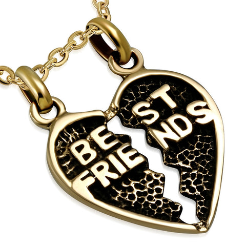 Bronze Best Friends Share a Heart Pendant - Pendants - Rebelroad.co.za