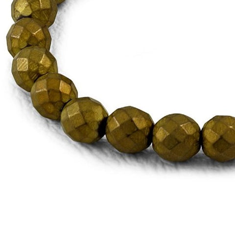 Bronze Faceted Non-Magnetic Hematite Beads Stretch Bracelet - Bracelets - Rebelroad.co.za