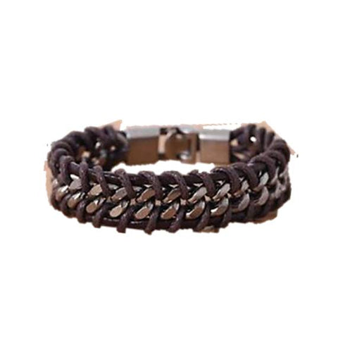 Unique Brown Braided Leather Cord Chain Bracelet