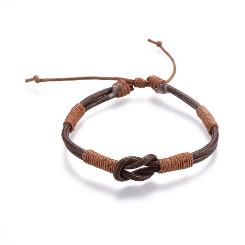 Brown Leather Cord Infinity Bracelet