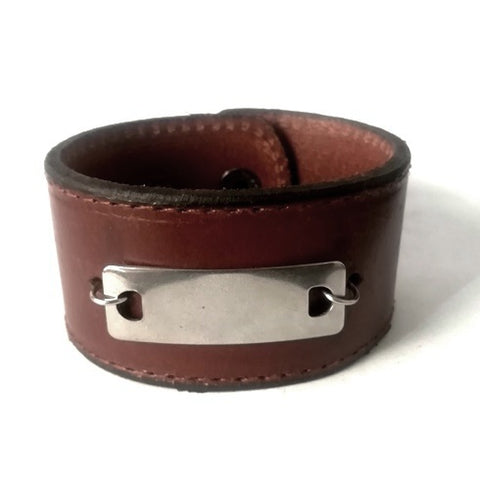 Brown Leather & ID Engravable plate Bracelet