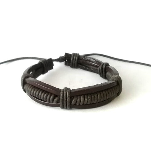 Brown Plaited Leather Cord Bracelet