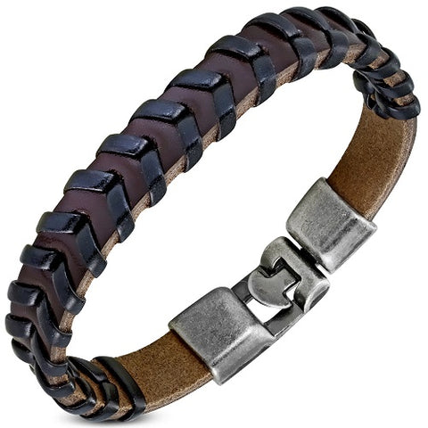 Brown & Black PU Leather Weave Bracelet - Bracelets - Rebelroad.co.za