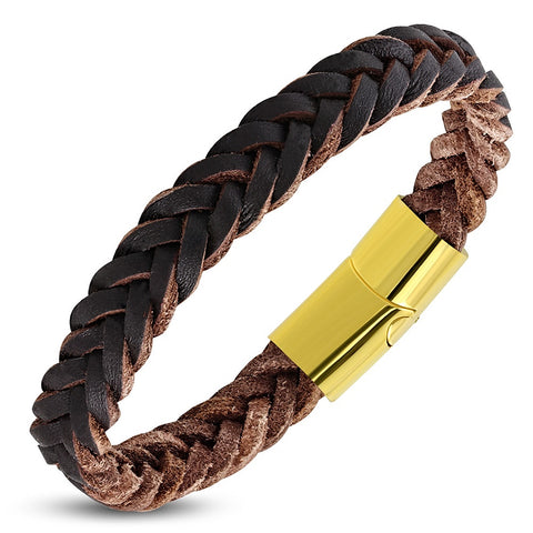 Brown Braided 12mm Leather Bracelet - Bracelets - Rebelroad.co.za