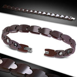 Brown Ceramic Panther Link Fold Over H Clasp Closure Bracelet - Bracelets - Rebel Road