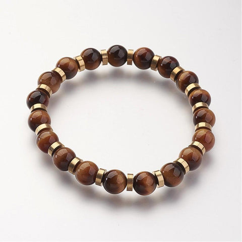Brown & Gold Tiger Eye Bead Bracelet - Bracelets - Rebelroad.co.za