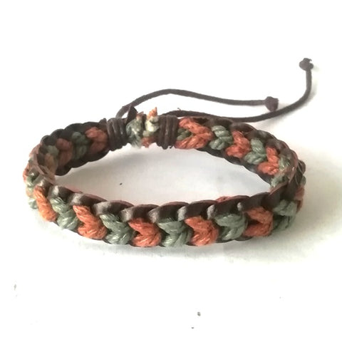 Brown & Green Leather Cotton Cord Bracelet