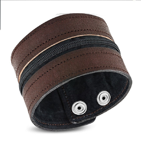 Brown Leather Zip-Style Snap Wristband Bracelet - Bracelets - Rebelroad.co.za