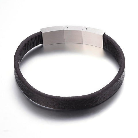 Brown Microfiber Plain Leather Bracelet - Bracelets - Rebelroad.co.za