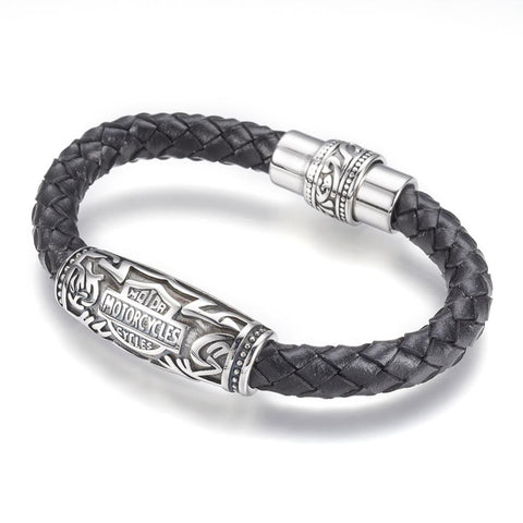 Classic Motorcycle Bolo Black Bracelet - Bracelets - Rebelroad.co.za