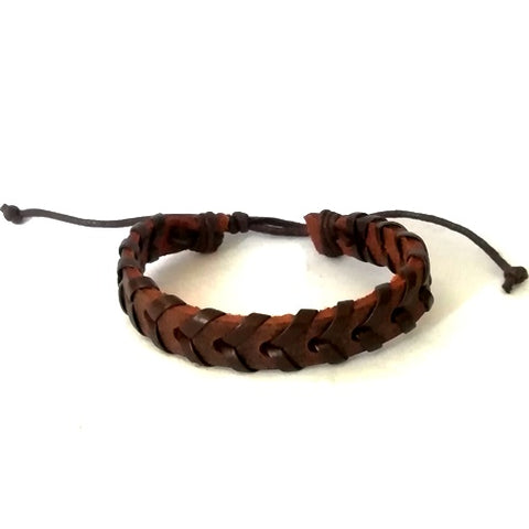 Coconut Brown Braided Leather Cord Bracelet