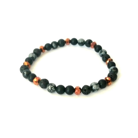 Copper & Black Bead Bracelet